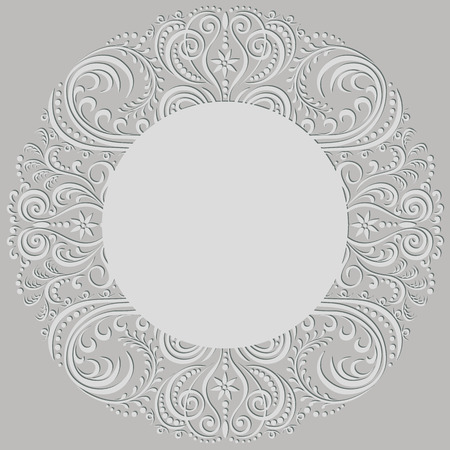 Swirl abstract pattern, ornamental round frame Vector