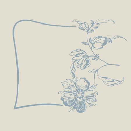 dessin fleur: Cadre avec la fleur de fantaisie. Dessin fleur de motif, carte d'invitation,