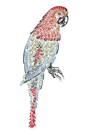 Decorated parrot bird macaw ara with ornament pattern Çizim