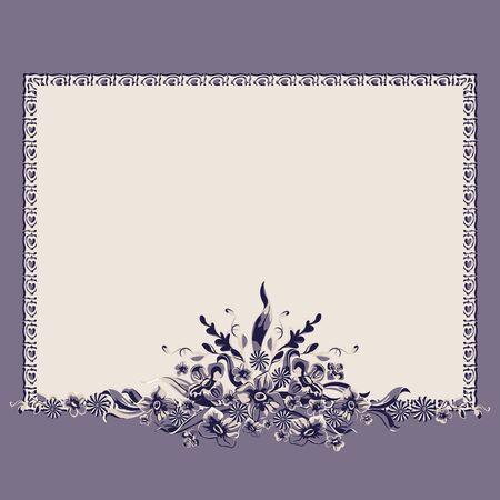 フレーム ブーケ ヴィンテージ花柄装飾パターン