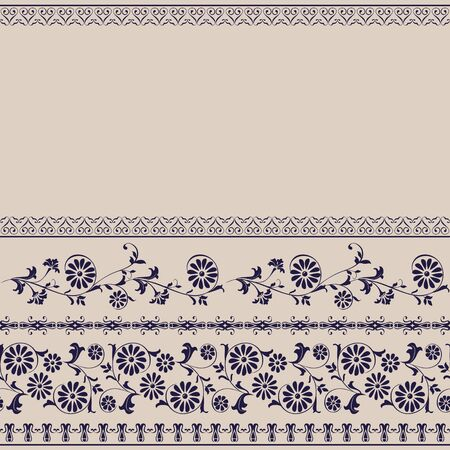 curle: Seamless border floral pattern, edge of fabric, wallpaper Illustration