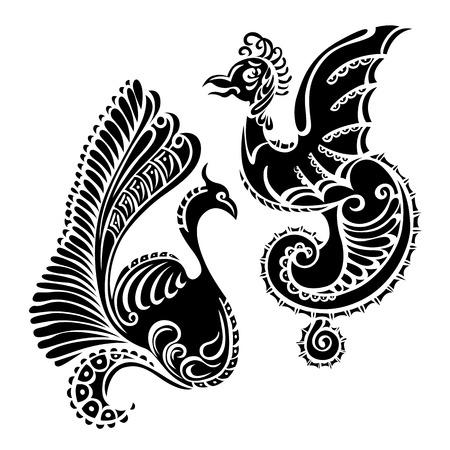 tatouage oiseau: dragon animaux oiseau noir art d�coratif tatouage Illustration