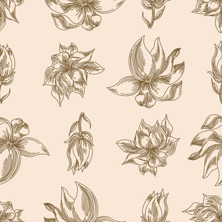 Seamless floral background with magnolia flower decorative art