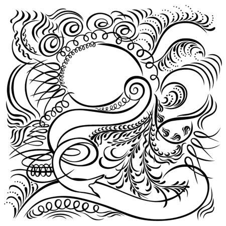 calligraphic swirling decorative elements black