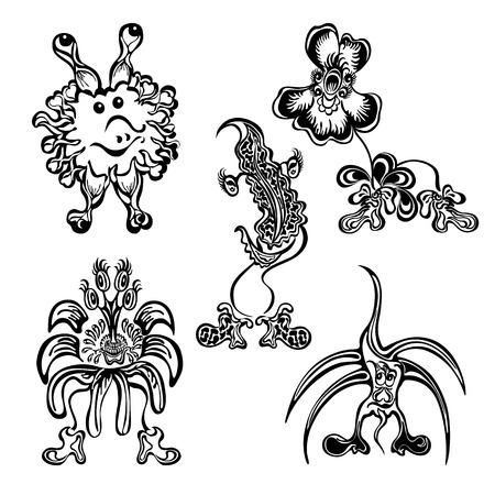 Set cute doodle fantasy monster personage black Vector