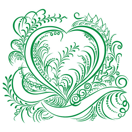 Swirling heart decorative elements calligraphic Ecology design Spring pattern