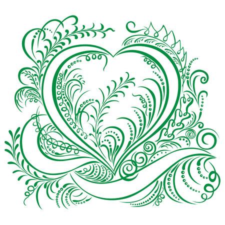 bordure de page: Tourbillonnant cardiaques �l�ments d�coratifs Ecologie calligraphique conception de mod�le de printemps Illustration