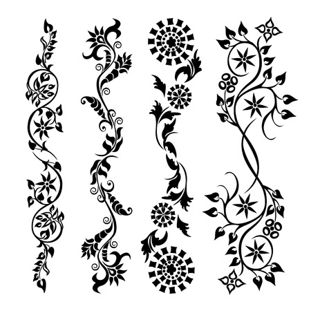 ornamental scroll: Set swirling decorative flower ornament pattern