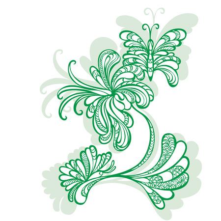 motif pattern: Decorative flower motif pattern with two butterflies Illustration