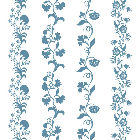 classic tattoo: Set seamless trims brushes floral pattern, design element
