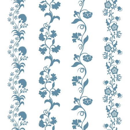 trims: Set seamless trims brushes floral pattern, design element