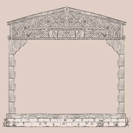 timber: Illustration frame of timber framing house, half-timbered building