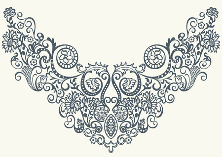 Fantasy abstract ornamental floral pattern embroidery fashion design for print clothes or shirt