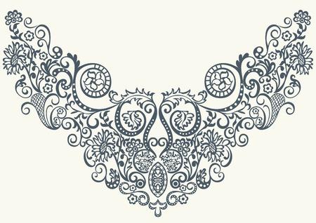 bordados: Resumen diseño ornamental de la fantasía floral de la moda del bordado patrón para la ropa de impresión o camisa