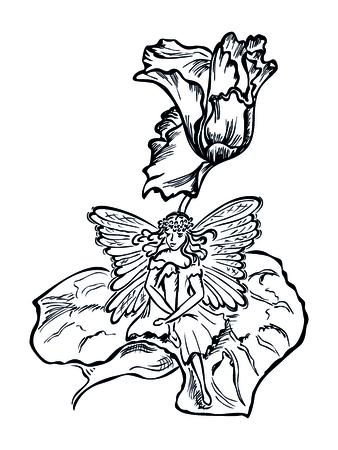 cyclamen: winged fairy sit in a flower leaf cyclamen Illustration