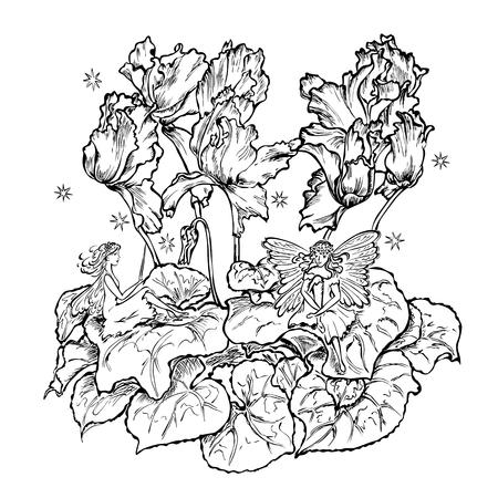 cyclamen: two fairies sitting a flower leaf cyclamen