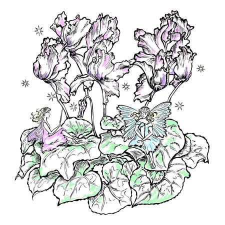 cyclamen: fairies sitting a flower leaf cyclamen color Illustration