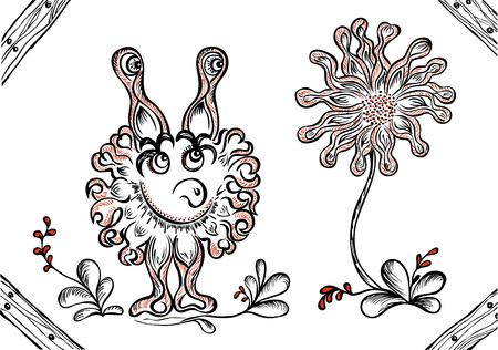 zapatos caricatura: monstruo de la fantasía con flores sobre fondo blanco Vectores
