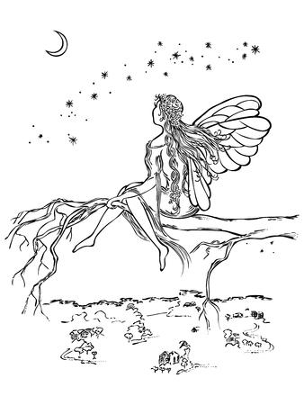 Winged fée sit dans une branche d'arbre regarde la lune