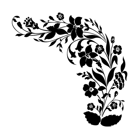 Spring or summer floral decorative elements pattern, black template