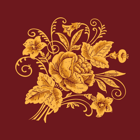 Floral pattern painting flowers on a burgundy background Illustration