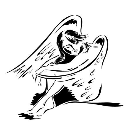Beautiful woman angel in sitting posture Vector illustration. Stock Illustratie