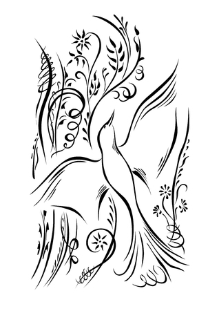 Bird is flying. Calligraphy swirling elements plants black white