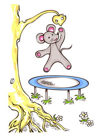 The mouse jumps on trampoline, wants to get the cheese heart. 向量圖像
