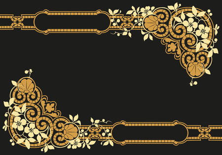 Vintage gold frame, decorative floral pattern on black background