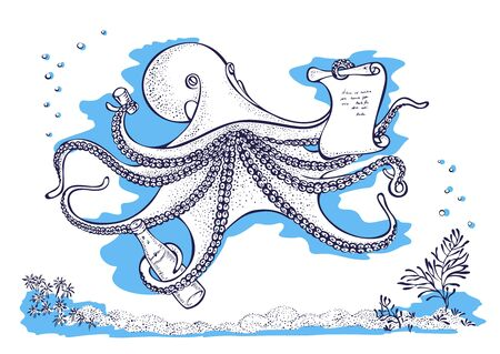 Octopus, cuttlefish, coleoidea is the smartest molluscs.  Cartoon character on white background
