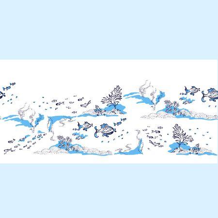 Seamless pattern. Fish's propel underwater, through water. Banner Underwater World Vektorové ilustrace