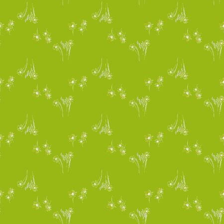 Nature floral seamless pattern. Grass, flowers on green background.