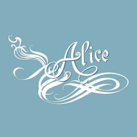 Nombre de Alice en la caligrafía de estilo, nombre de la mujer de las niñas sobre fondo azul. Letras decorativas