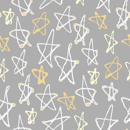 Seamless pattern with stars for Holiday Merry Christmas or New Year on a grey background