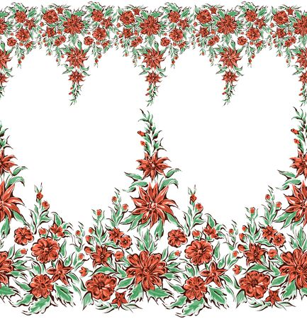 Seamless pattern flowers, border with decorative floral elements. Edge of the fabric, wallpaper, textile on white background,
