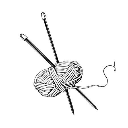Skein of wool, cotton yarn whit needles on white