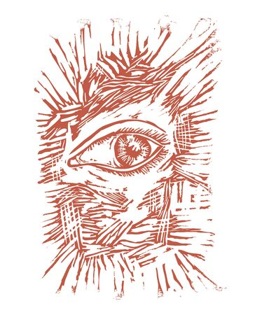 Ink graphic illustration of human eye in linocut style. Design drawing carved in relief on of linoleum.