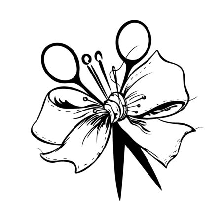 Ribbon bow is tied together folded wiht needles, thread, scissors on white background Illustration