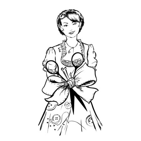 Tailor female dressmaker girl with sewing equipmentaround talia ribbon bow is tied together folded wiht needles, thread, scissors on white background