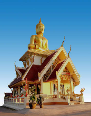 mekong: the Big buddha sculpture on the top of thai temple stly near mekong in phonpisai,nongkhai north east thailand