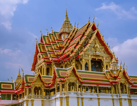 multi level: Large size temple with multi level roofs in Thailand.