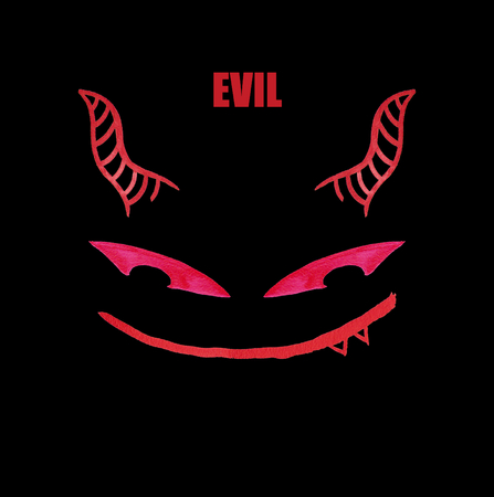 Red face of a devil in a cartoonish and comic style, smiling in a mostly unpleasant way Archivio Fotografico - 122942584