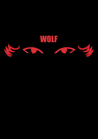 Red eyes of a wolf or werewolf, handpainted and digital revised, against a black background with a red title in block letters Banco de Imagens