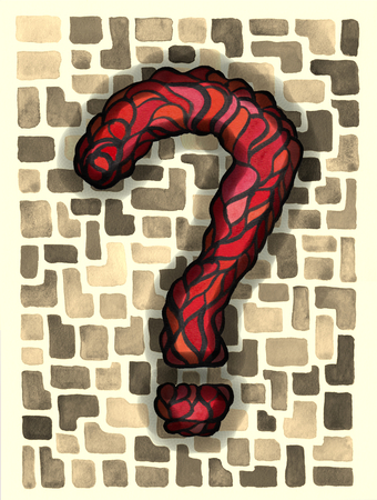 big red question mark in mosaic style, using acrylic paints and watercolour, digital revised, against a mosaic background in sepia colours Banco de Imagens