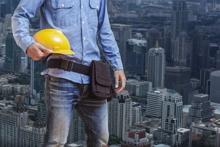 workwear: Worker wearing workwear and architect
