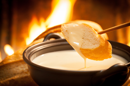 Cheese fondue,Traditional Swiss food for winter