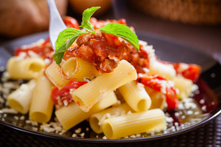 pasta sauce: Penne pasta with tomato sauce Stock Photo