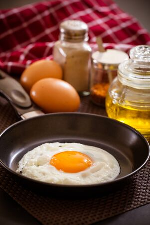 frying: Fried egg on a frying pan