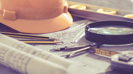 Plans de conception architecturale et projet dessins Banque d'images