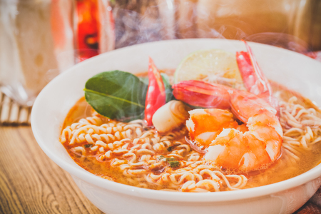 Spicy instant noodles soup with shrimp Stock Photo
